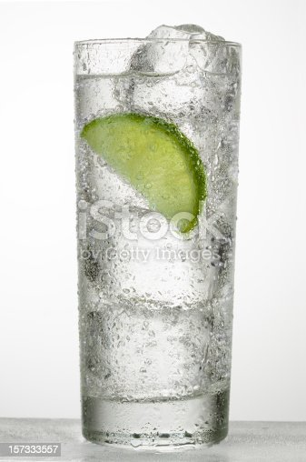 cold glass of water, soda or alcoholic drink whith lime slice