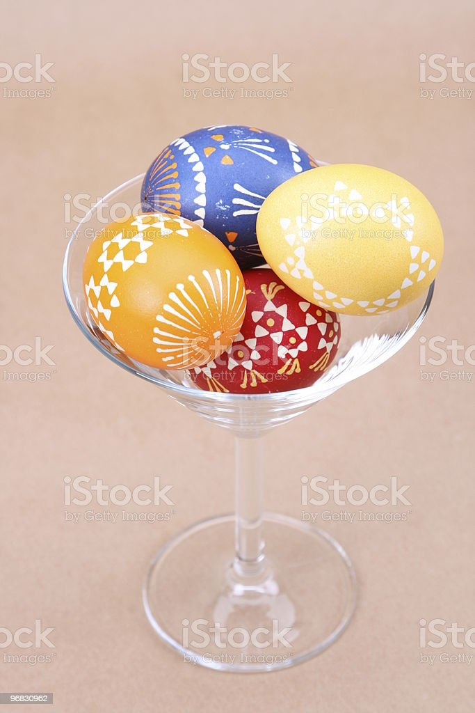 Glass of Easter Eggs royalty-free stock photo