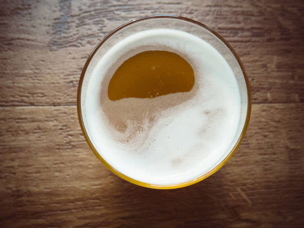 Glass of Fizzy Carbonated Home Brew Kombucha Drink stock photo