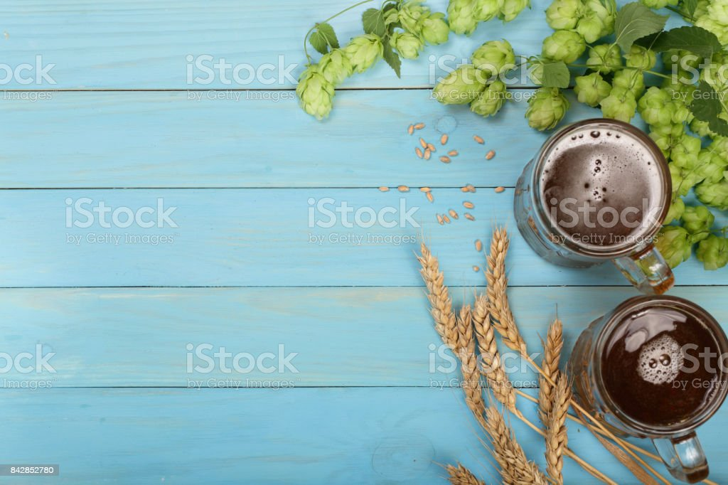 glass of foamy beer with hop cones and wheat on blue wooden background. Top view with copy space for your text stock photo
