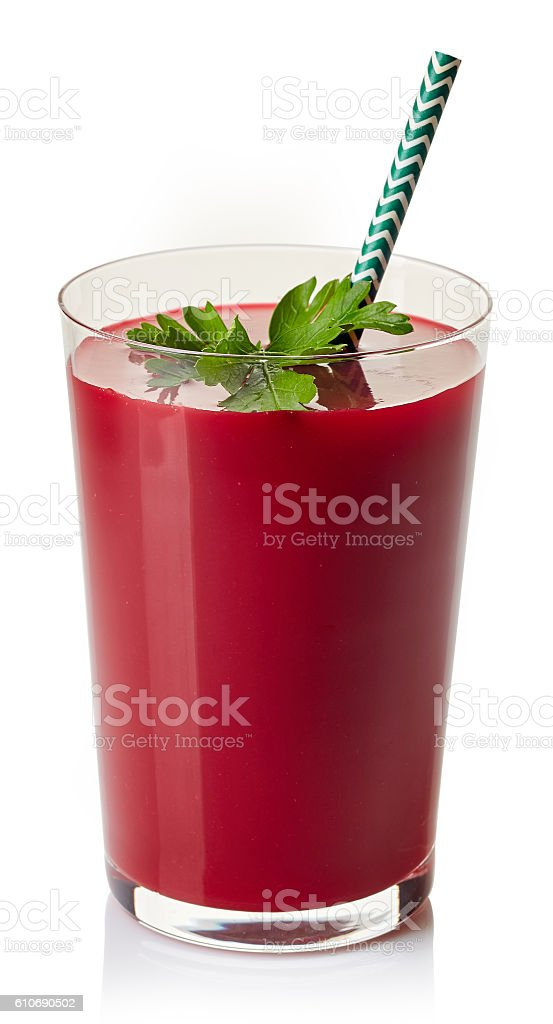 Glass of fresh beetroot juice stock photo