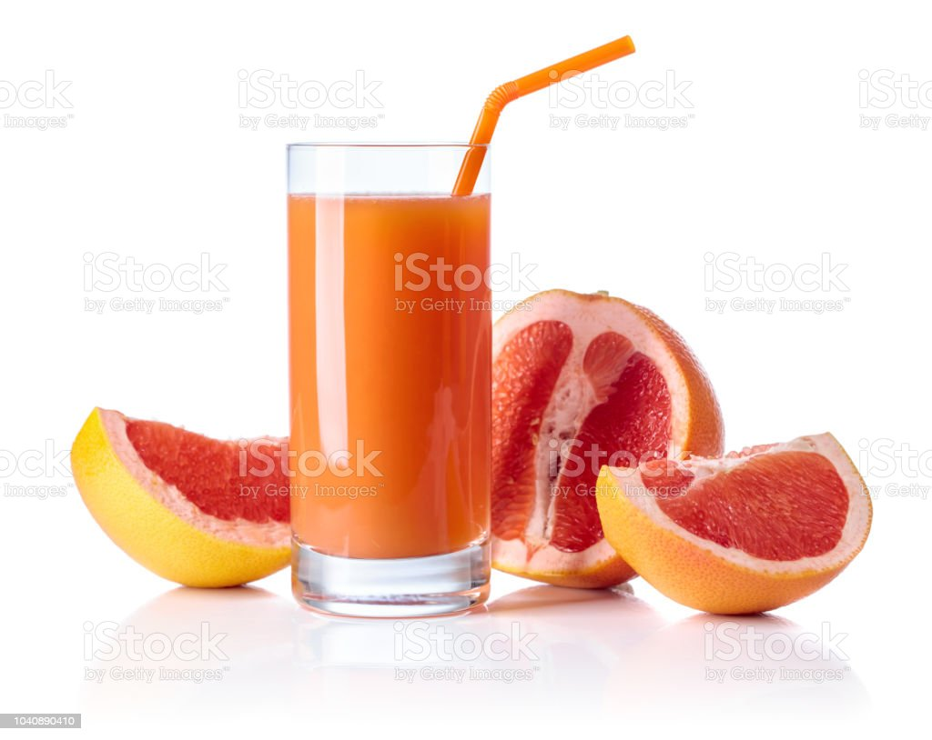 Glass Of Fresh Grapefruit Juice And Cut Fruits White