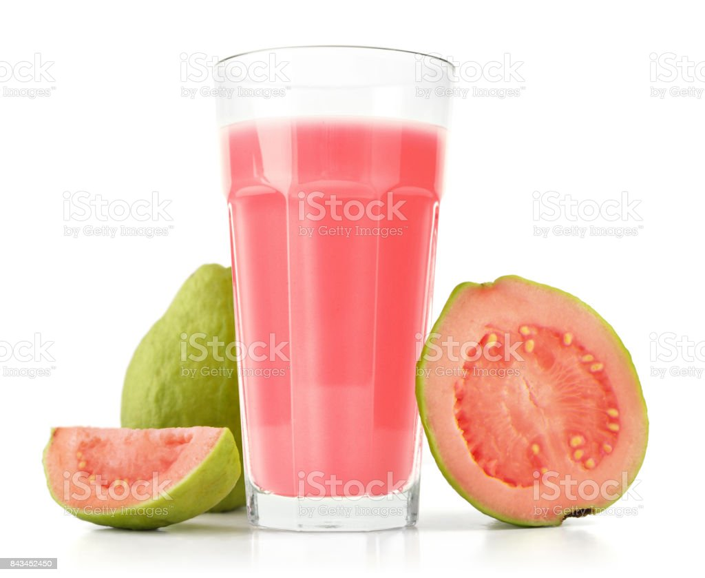 Glass of Guava Smoothie stock photo