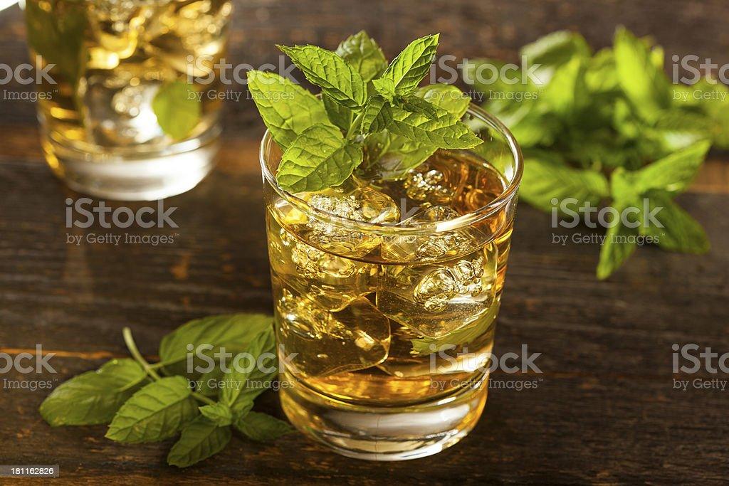 A glass of homemade gourmet mint julep stock photo