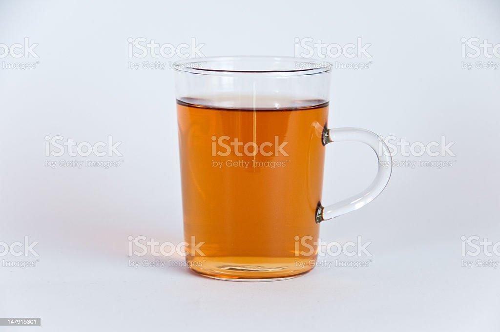 Glass of hot black tea stock photo