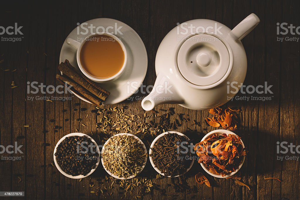 glass of hot indian yoga drink - stock photo