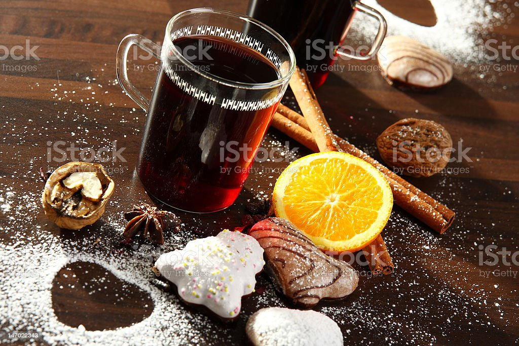 glass of hot punsh with orange and cinnamon royalty-free stock photo