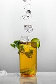 Ice lemon tea isolated on white background