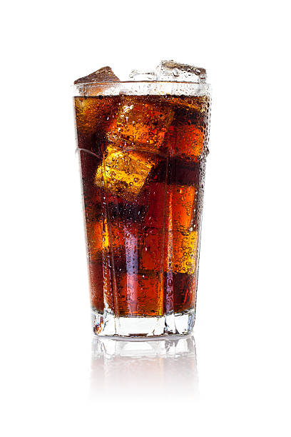 glass of iced cola - soda pop stock photos and pictures