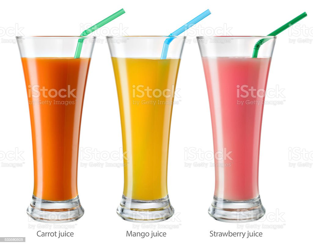 Glass of juice. Collection isolated on white. With clipping path stock photo
