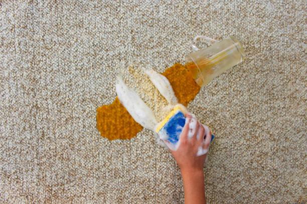 glas saft fiel und auf boden verschüttet. weibliche hand reinigt den teppich mit einem schwamm und spülmittel. - fleckenentferner stock-fotos und bilder