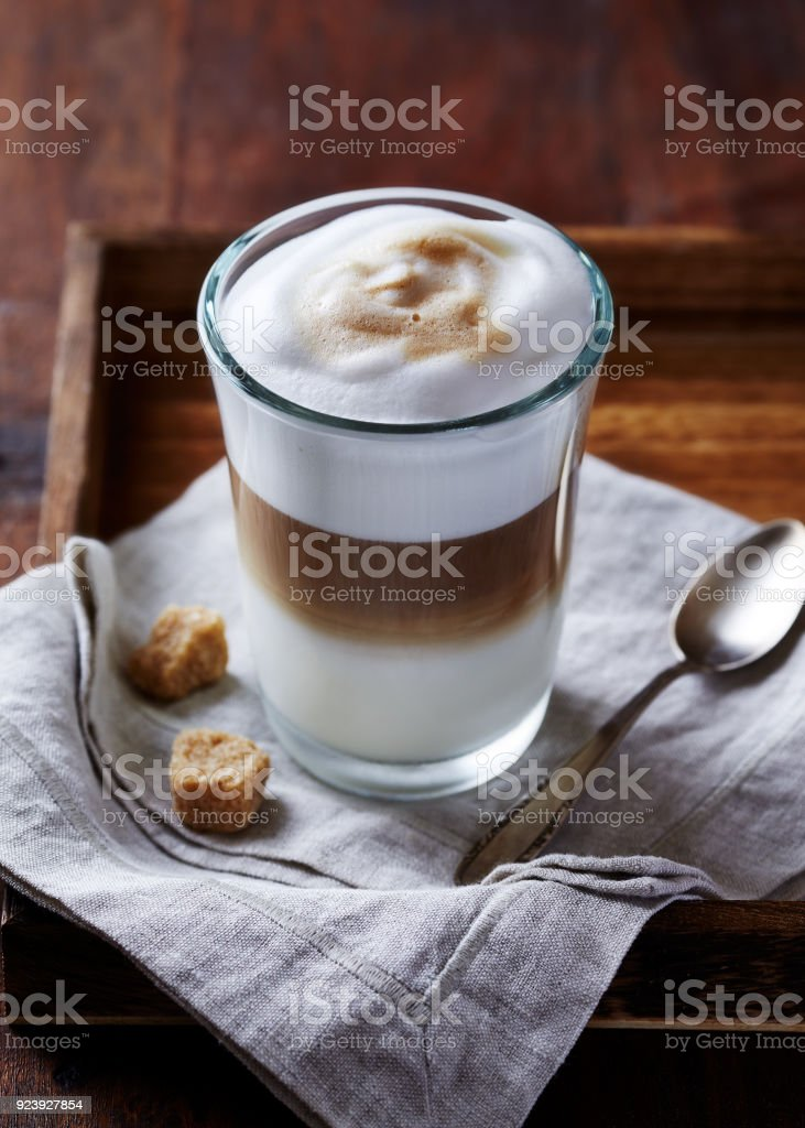 Glass of Latte Macchiato stock photo