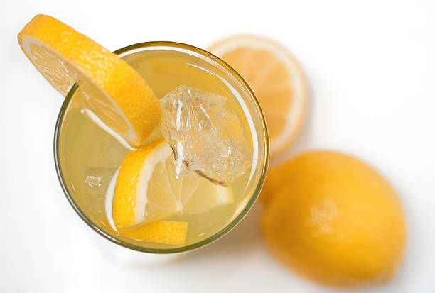 Glass of Lemonade from Above stock photo