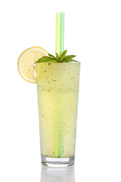 "glass of lemonade ""glass of lemonade with lemon slice, mint and straws"" lemon juice stock pictures, royalty-free photos & images"