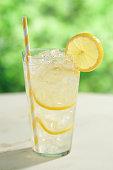 Glass of lemonade.  Selective focus.