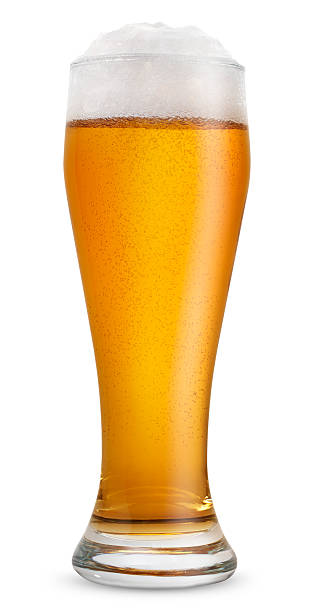 Glass of light beer Glass of light beer on white background beer glass stock pictures, royalty-free photos & images