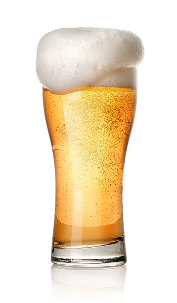 glass of light beer - beer foam stock photos and pictures