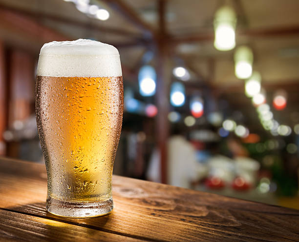 Glass of light beer. stock photo