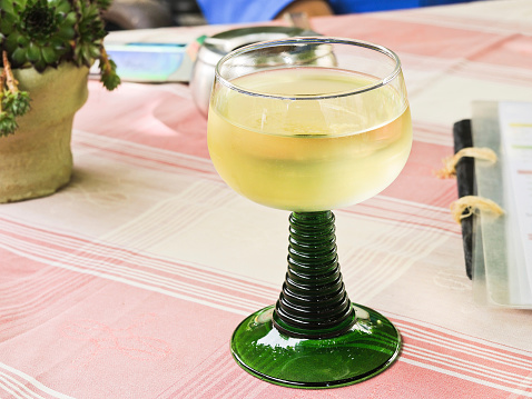 glass of local dry white wine, Moselle region