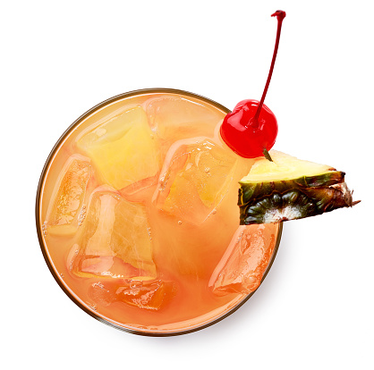 Glass of Mai tai cocktail isolated on white background. Top view