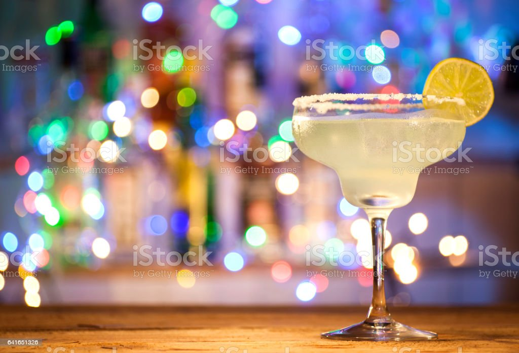 Glass of margarita cocktail stock photo