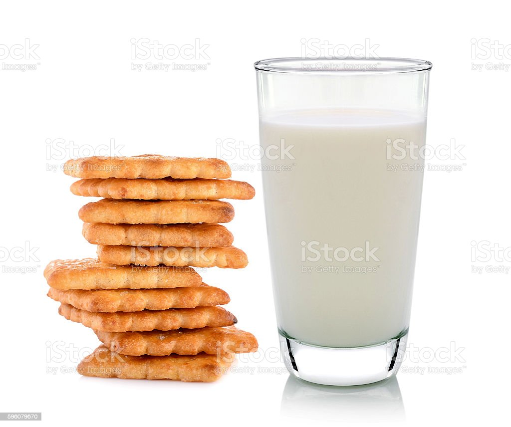 glass of milk and butter biscuits on white background royalty-free stock photo