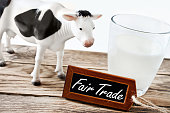 Glass of milk and cow with Fair Trade label