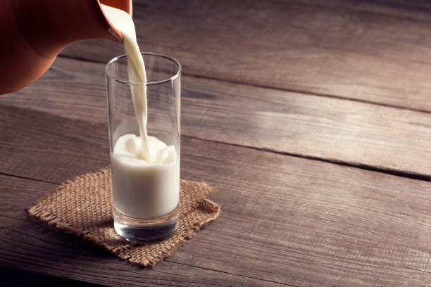 glass of milk stock photo