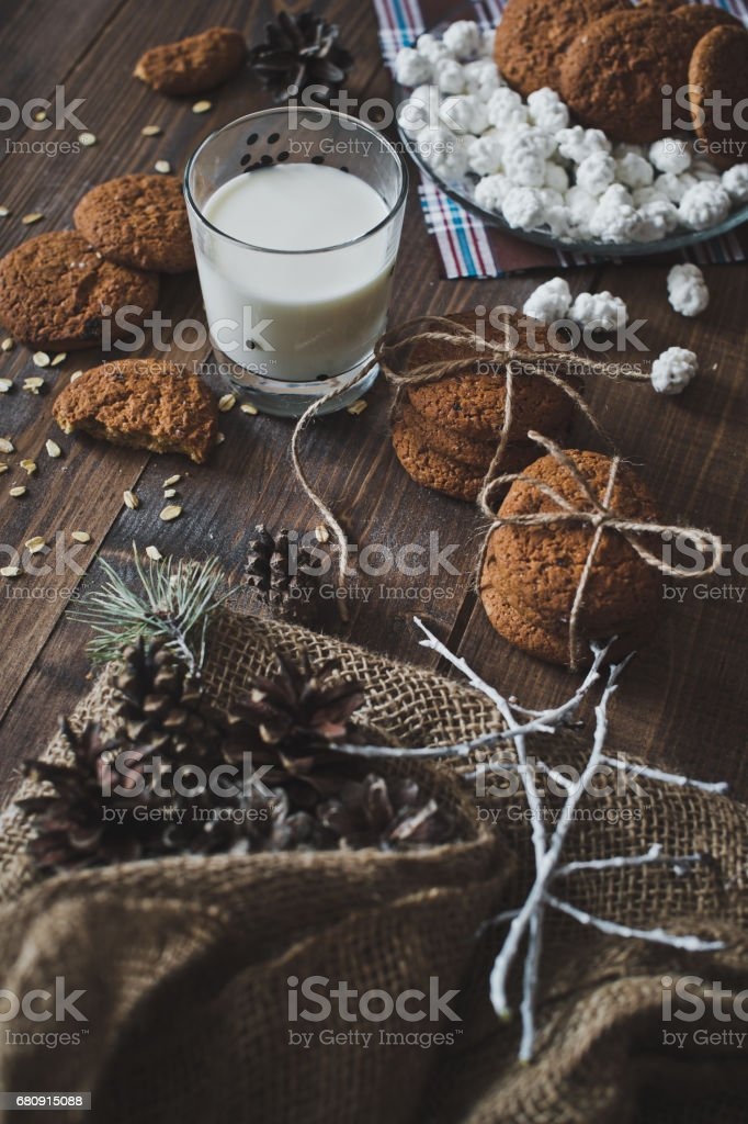 A glass of milk with cookies 5097. royalty-free stock photo
