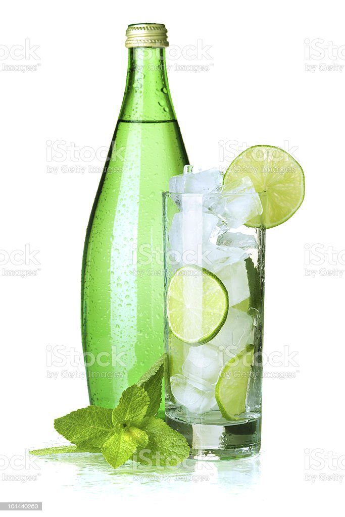 Glass of mineral water with mint, lime and ice royalty-free stock photo