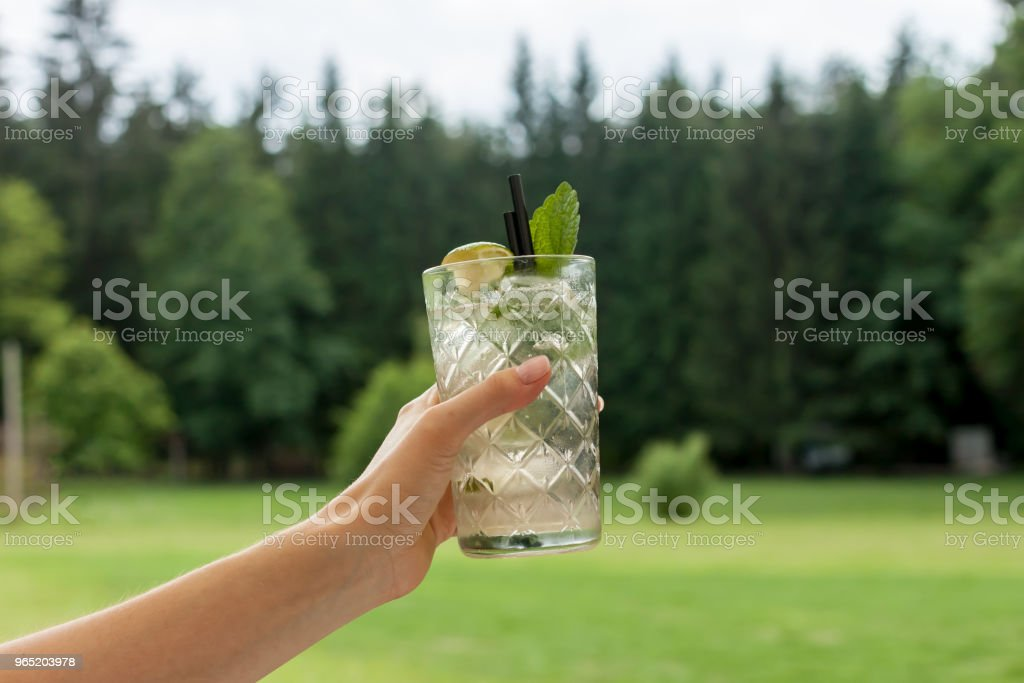 glass of mojito in female hand royalty-free stock photo