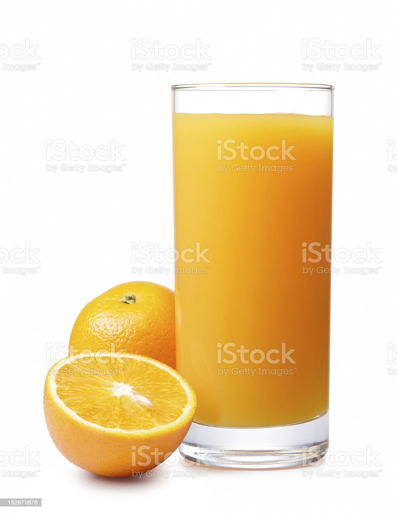 Glass of orange juice and fresh oranges stock photo