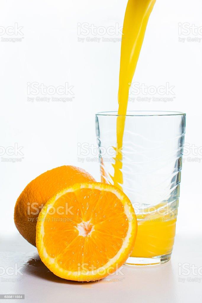 Glass of Orange Juice and Orange Slices Isolated on White stock photo