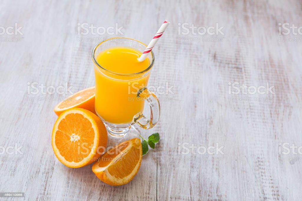 Glass of Orange Juice Drink For Breakfast stock photo