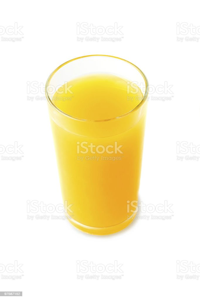Verre de jus d'orange isolé sur blanc photo libre de droits