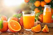 Glass of orange juice on a wooden in field