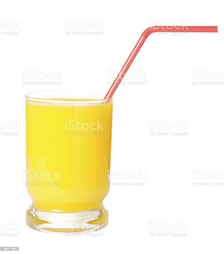 Glass of orange juice on white with clipping path stock photo