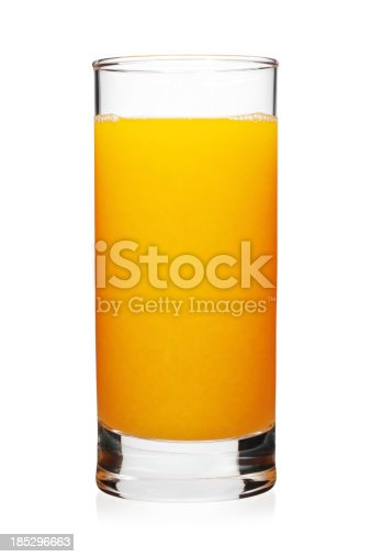 A glass of orange juice on white background.Drinks on white: