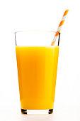 One glass of orange juice with an orange straw
