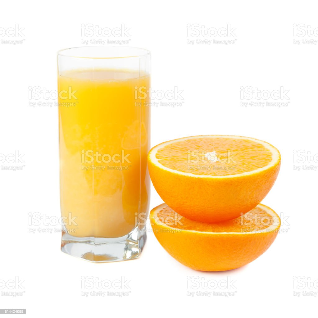 A glass of orange juice with fruits near stock photo