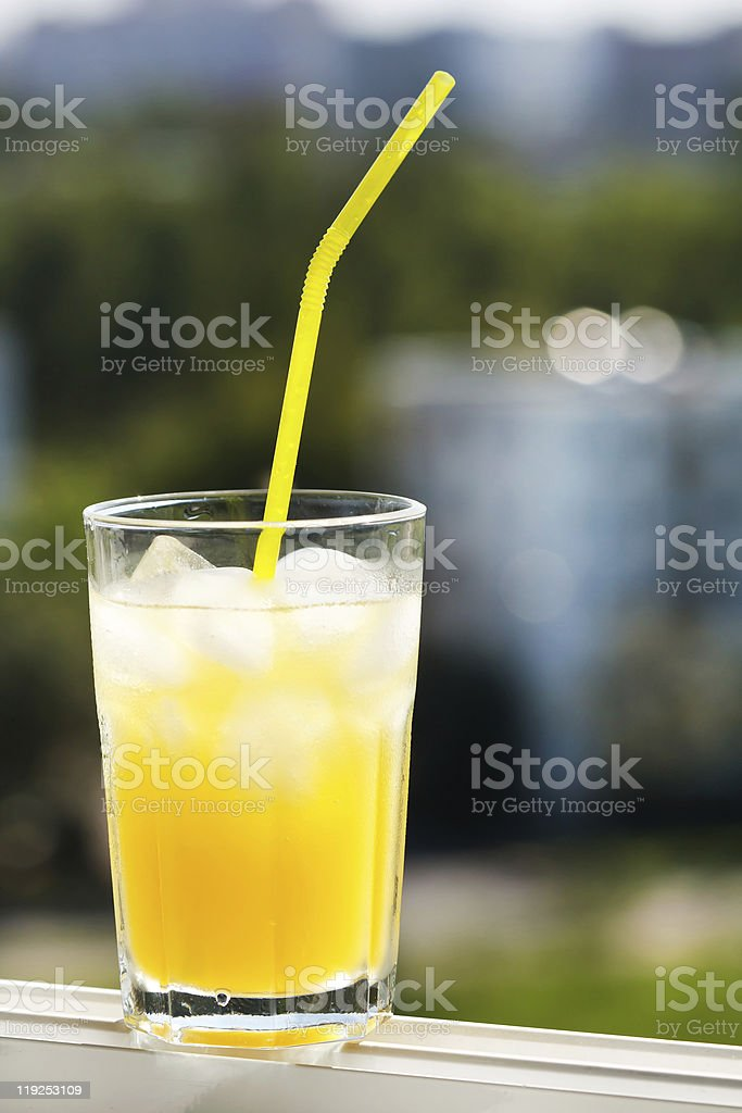 glass of orange juice with ice royalty-free stock photo