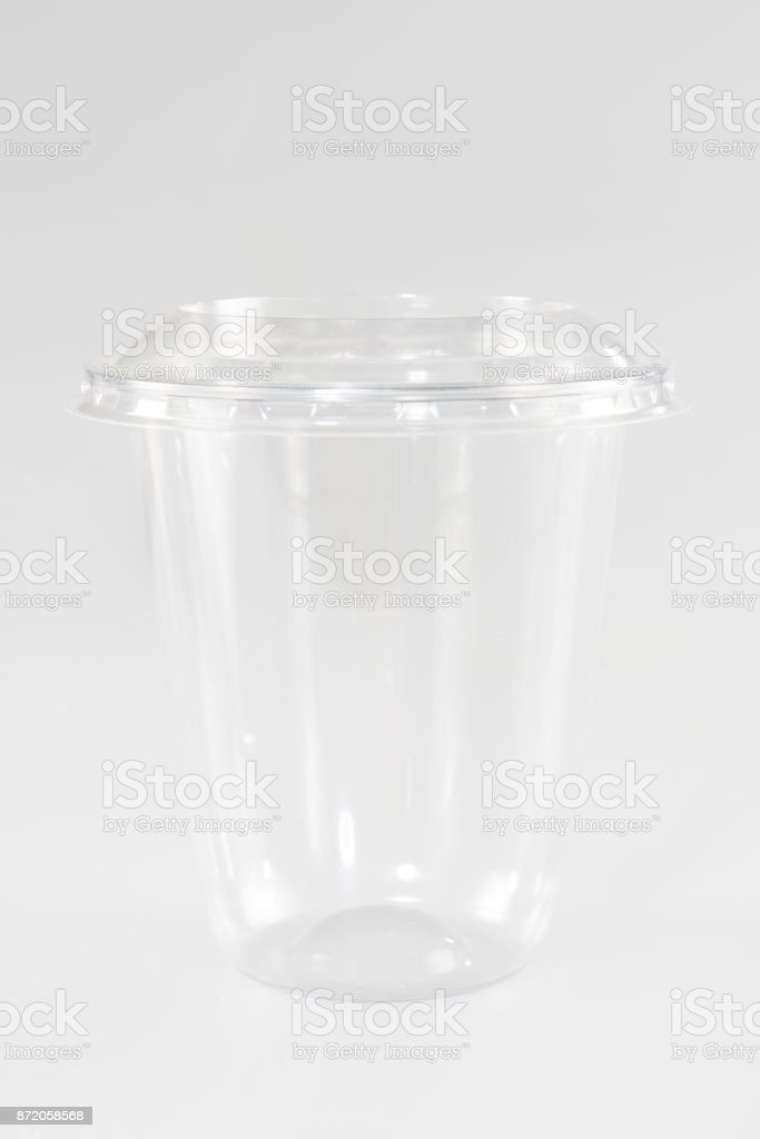 glass of plastic for take-out stock photo