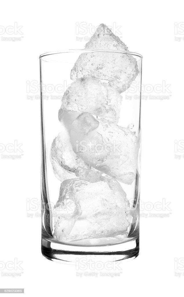 Glass of Real Ice isolated on white background stock photo