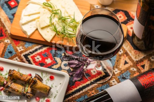 istock Glass of red Georgian wine for dinner 512404978