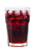 istock Glass of red  juice and ice isolated on white background 682896020