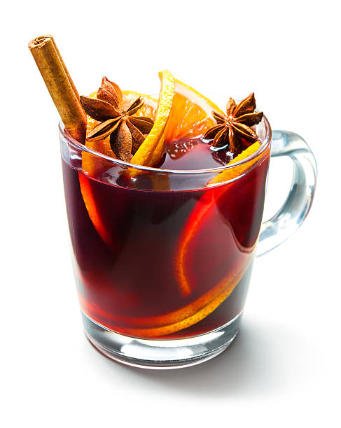 glass of red mulled wine - mulled wine stock photos and pictures