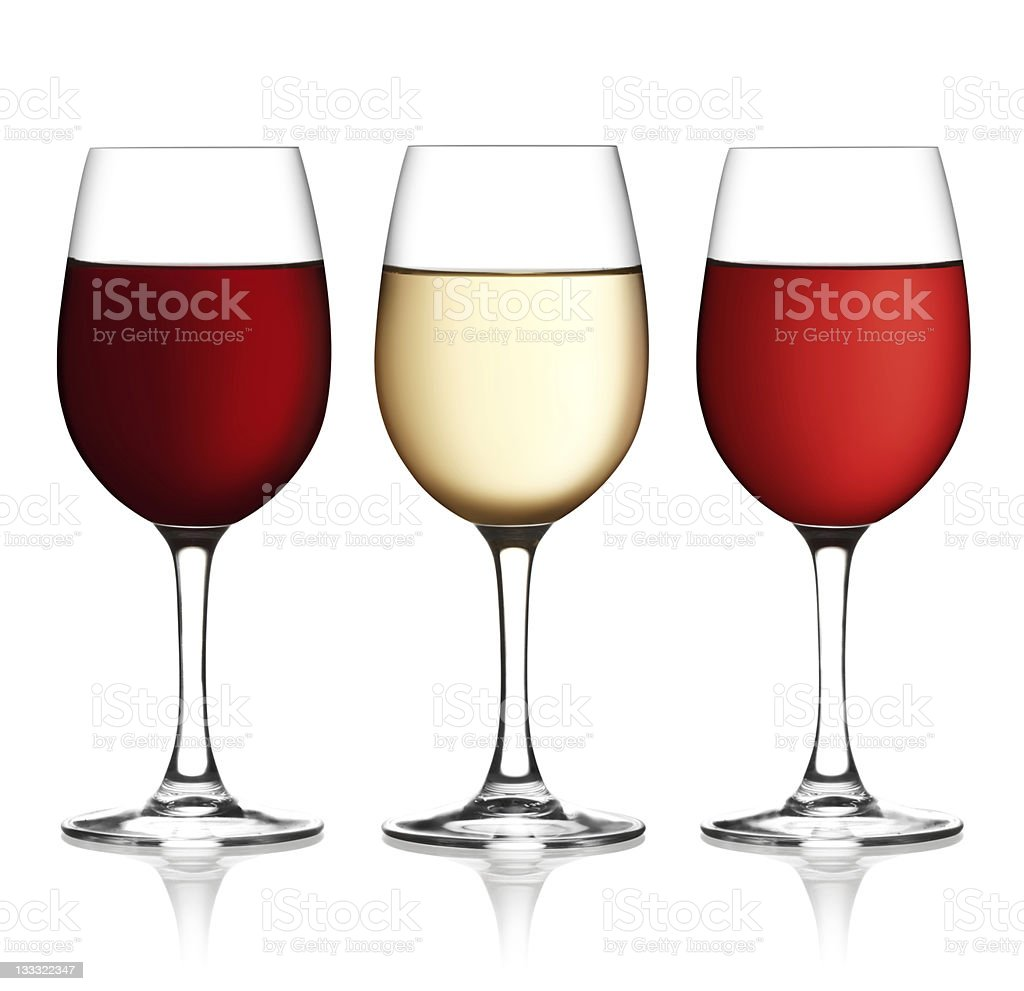 Glass of red, pink and white wine royalty-free stock photo