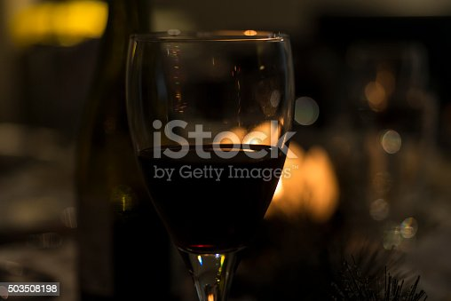 Glass of red wine during a meal