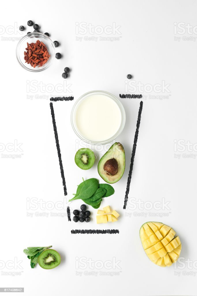 Glass of refreshing smoothies stock photo