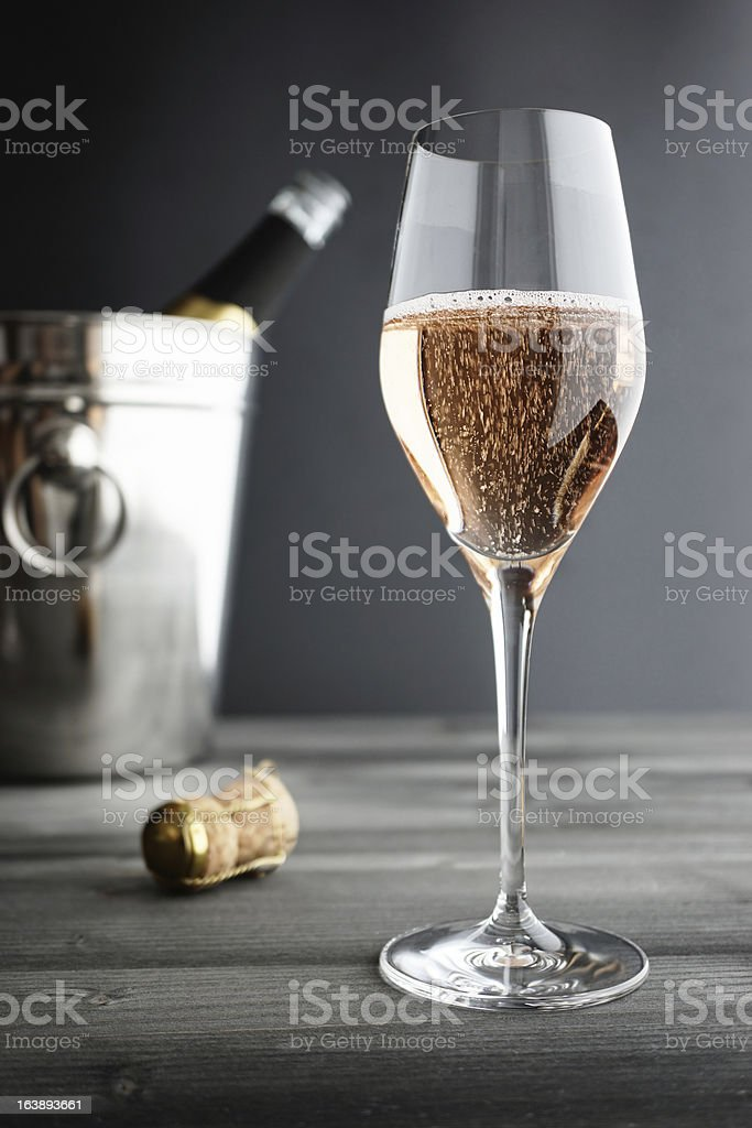 Glass of Rose / Pink Champagne and Cooler stock photo